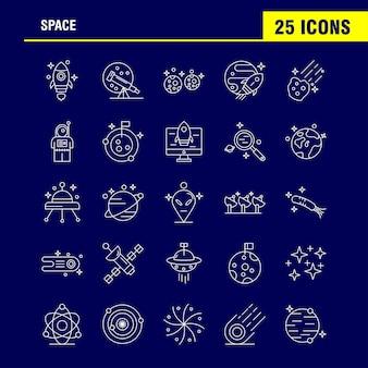 Space line icons set pour infographie, kit ux / ui mobile