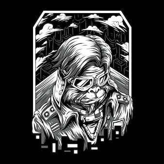 Space monkey remasterisé illustration noir et blanc