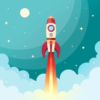 Space rocket flying in space with moon and stars on background print illustration vectorielle