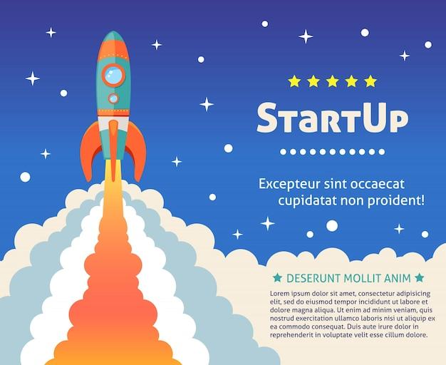 Space rocket ship start up cartoon fond futuriste avec des étoiles sur fond illustration vectorielle