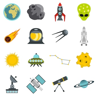 Space set flat icons