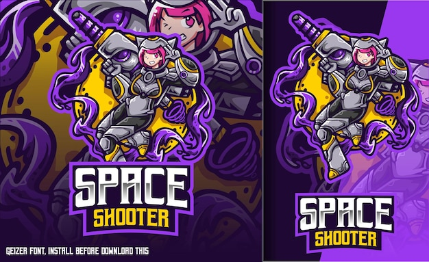 Space shooter cat girl logo esport