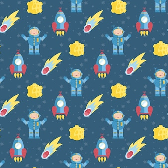 Space travels seamless pattern vector cartoon