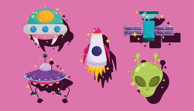 Space ufo vaisseau spatial extraterrestre satellite aventure cartoon icons set illustration
