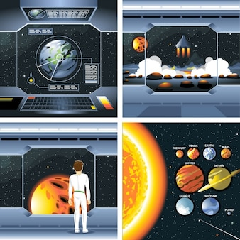 Spacecraft et des planètes