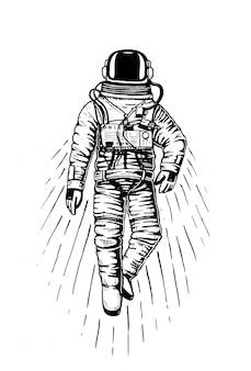 Spaceman astronaute. planètes du système solaire. espace galaxie astronomique.