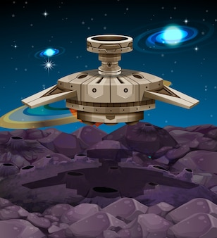 Spaceship atterrissant sur la surface de la lune