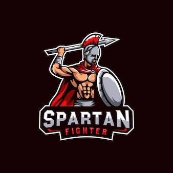 Spartan warriors logo, spartan fighter logo template for e sport gaming or team