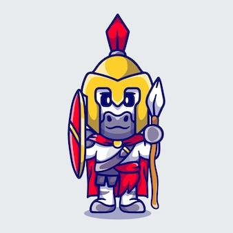 Spartiate de gladiateur zèbre mignon avec bouclier et lance