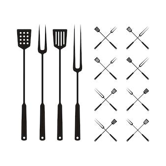 Spatule et fourchette pour barbecue, logo barbecue