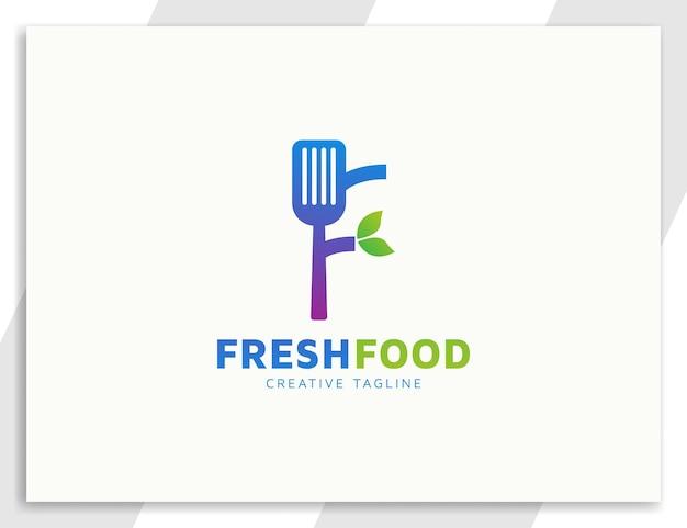 Spatule lettre f modèle de logo de restaurant ou de nourriture