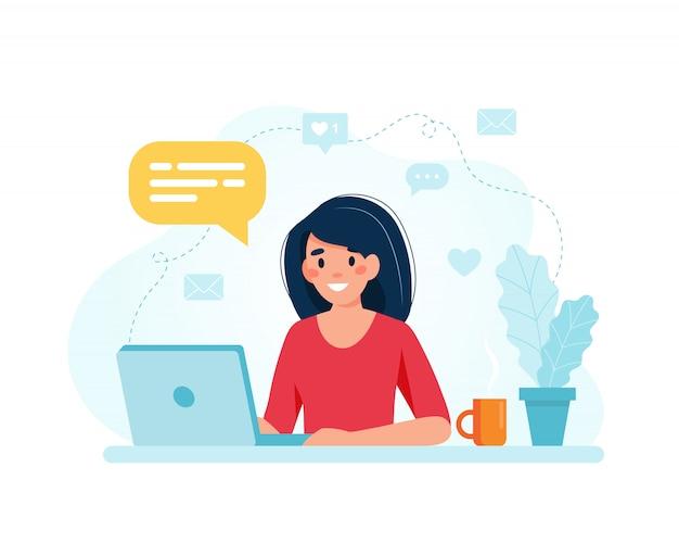 Spécialiste du marketing en ligne. personnage féminin travaillant avec un ordinateur portable.