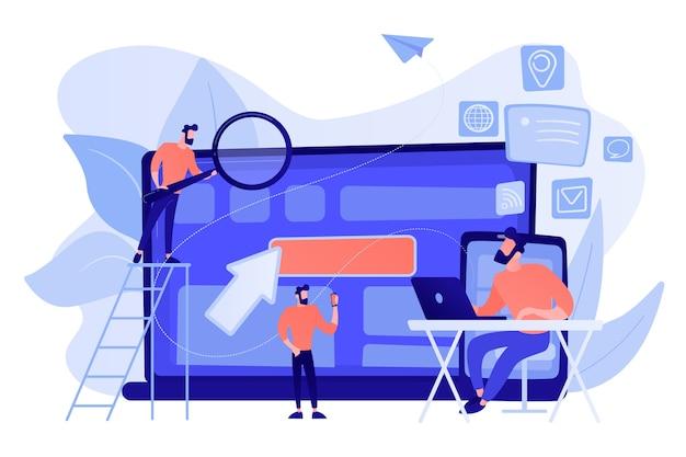 Un spécialiste informatique identifie l'utilisateur sur mobile, ordinateur portable et tablette. suivi et capacité de plusieurs appareils, cross-device à l'aide du concept illustration isolée de bleu corail rose