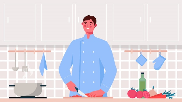 Spécialistes culinaires, chef cuisinant des aliments sains, coupant des légumes. illustration plate