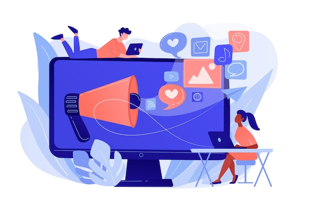 Spécialistes du marketing et ordinateur avec mégaphone et icônes de médias sociaux. marketing des médias sociaux, réseautage social, concept de marketing internet. illustration isolée de bleu corail rose