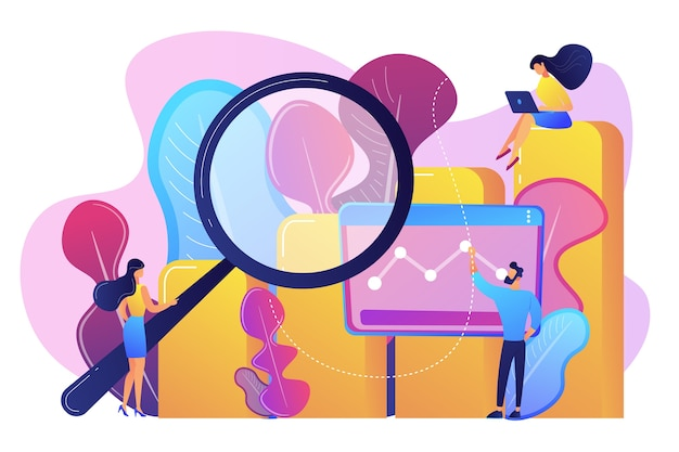 Les spécialistes du marketing avec le tableau des opportunités de marketing de recherche de loupe recherche marketing, analyse marketing, opportunités de marché et concept de problèmes.
