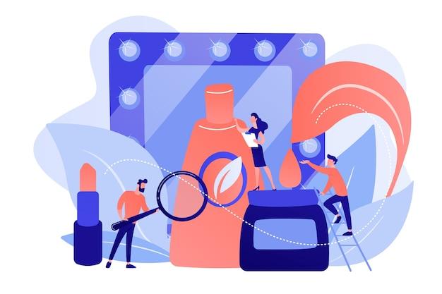 Spécialistes étudiant les ingrédients naturels de la cosmétique bio. cosmétiques bio, maquillage bio, concept de cosmétiques ingrédients naturels. illustration isolée de bleu corail rose