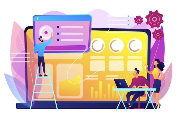 Les spécialistes des médias sociaux gèrent plusieurs comptes sur un énorme ordinateur portable. tableau de bord des médias sociaux, interface de marketing en ligne, concept de métriques de médias sociaux.