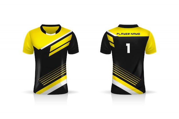 Spécification soccer sport, modèle de maillot de sport esports gaming t shirt. uniforme. illustration