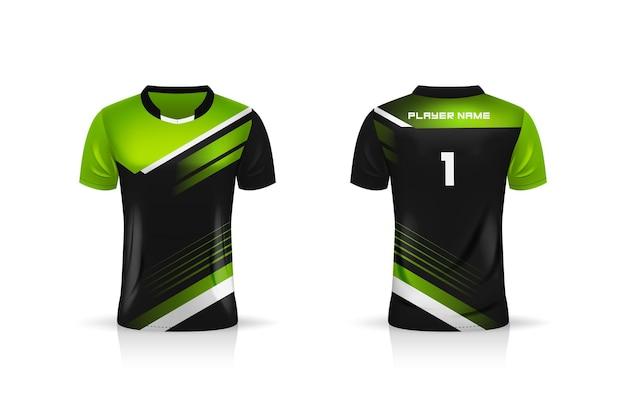 Spécification soccer sport, modèle de maillot de t-shirt esports gaming. uniforme.