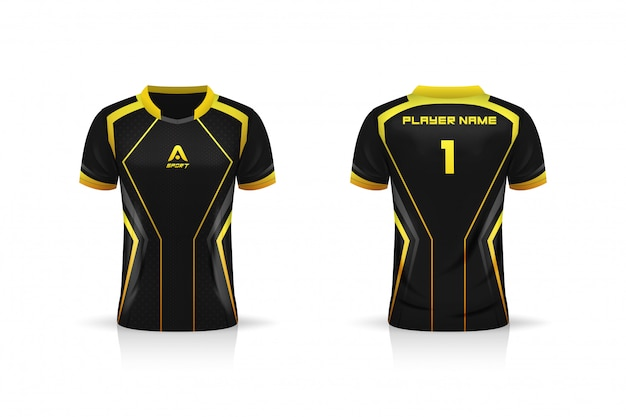 Spécifications soccer sport, esport gaming t shirt jersey template. maquette uniforme. conception d'illustration vectorielle