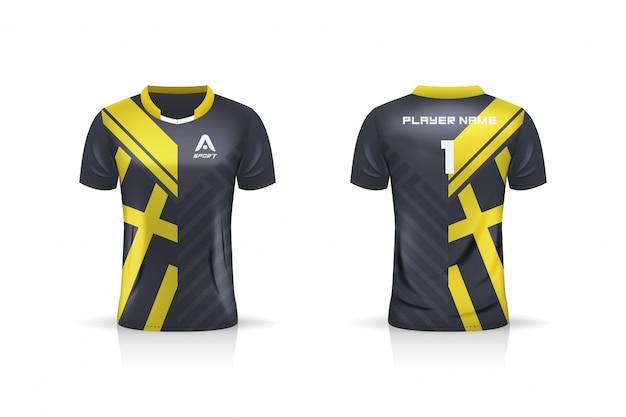Spécifications soccer sport, esport gaming t shirt jersey template. uniforme. illustration