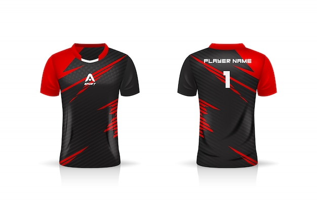 Spécifications soccer sport, esport gaming t shirt jersey template. uniforme.