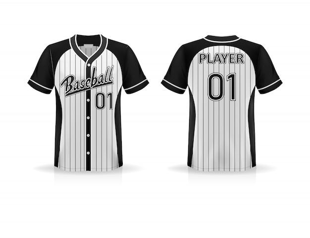 Spécifications t-shirt de baseball isolé sur fond blanc, espace vide sur la chemise pour la conception et le placement d'éléments ou de texte sur la chemise, vierge pour l'impression, illustration
