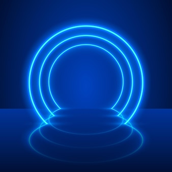 Spectacle au néon fond bleu podium clair. illustration vectorielle