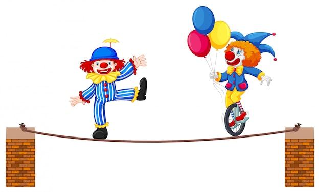 Un spectacle de clown de cirque sur fond blanc