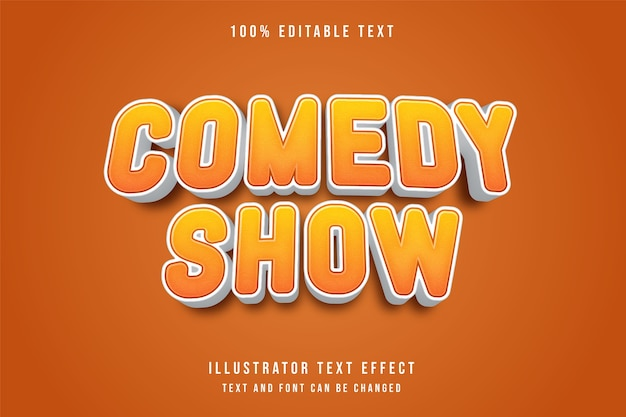 Spectacle de comédie, effet de texte modifiable 3d effet de style bande dessinée orange dégradé jaune