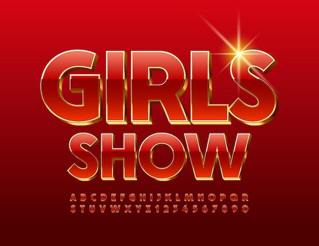 Spectacle de filles. police rouge et or. ensemble de lettres et chiffres de l'alphabet brillant chic