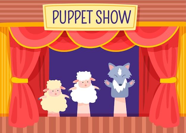 Spectacle de marionnettes illustré pour le fond des enfants