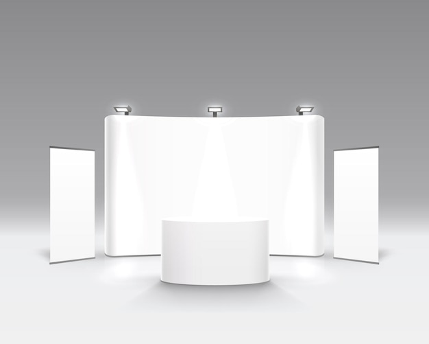 Spectacle de scène podium pour les présentations sur fond gris. illustration vectorielle