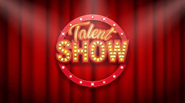 Spectacle de talents, affiche, inscription or sur rideau rouge