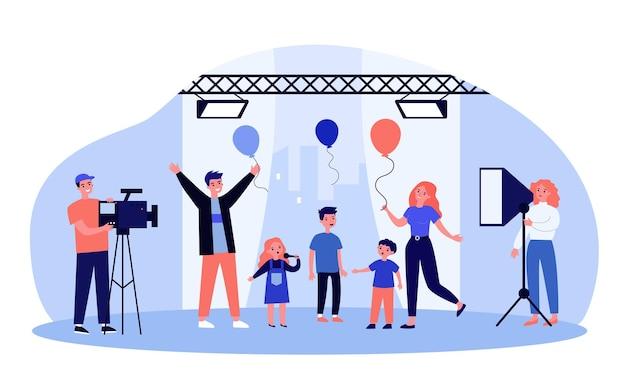 Spectacle de talents pour enfants à la télévision avec les enfants et les parents