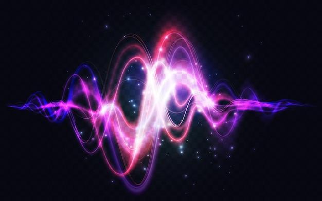 Spectre abstrait onde sonore effet de lumière rougeoyante mouvement élément d'énergie graphique néon
