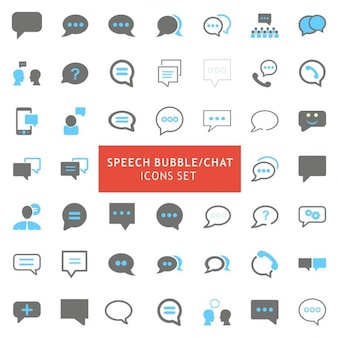 Speech bubble bleu et gris couleur icons set