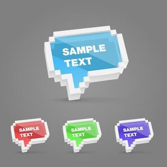 Speech bubble réglé dans le style de pixel