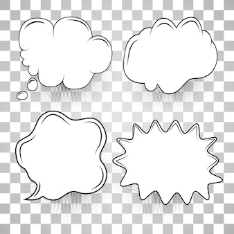 Speech bubble set modèle de dessin animé