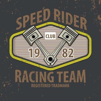 Speed rider typographique avec des pistons pour t-shirt.
