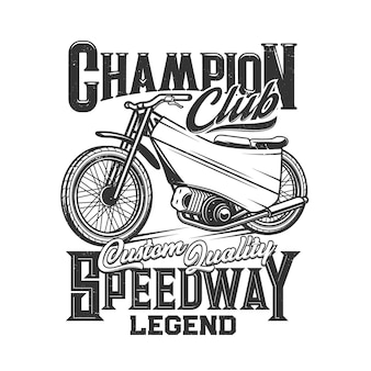 Speedway, Courses De Motos, Club De Sports De Motos Vecteur Premium