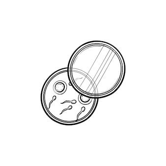 Les spermatozoïdes et les œufs dans l'icône de doodle contour dessiné à la main de la boîte de pétri