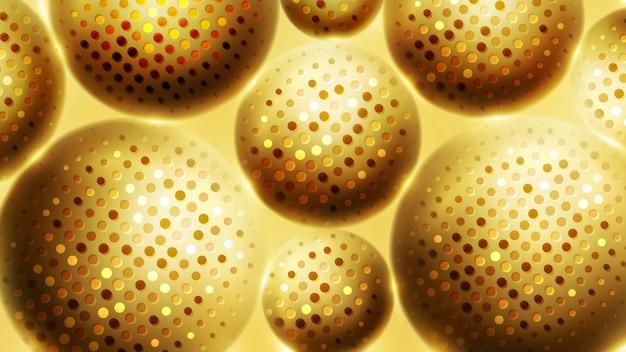 Sphère 3d de luxe abstrait avec motif doré.