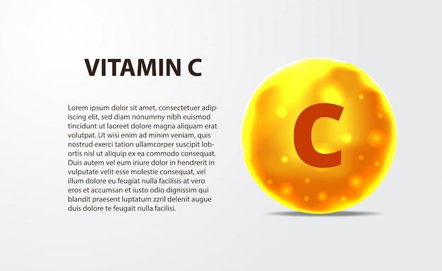 Sphère 3d molécule or jaune vitamine c