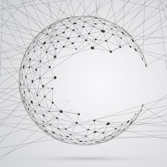 Sphère abstraite de composés avec points, connexions réseau globales