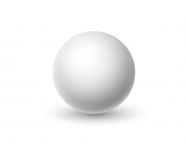 Sphère blanche isolée sur fond blanc.