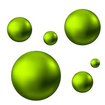 Sphère brillante verte isolée sur fond blanc bulles d'huile de soins de la peau pearl