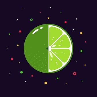 Sphère de citron vert avec logo demi-tranche, concept de modèle de design plat
