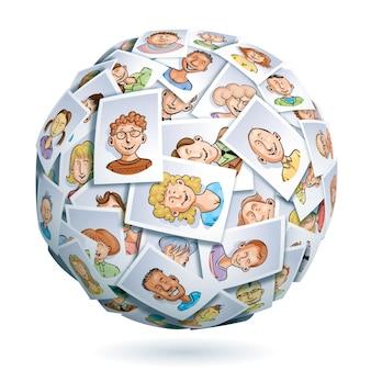 Sphère faite de portraits de jeunes multiethniques souriants